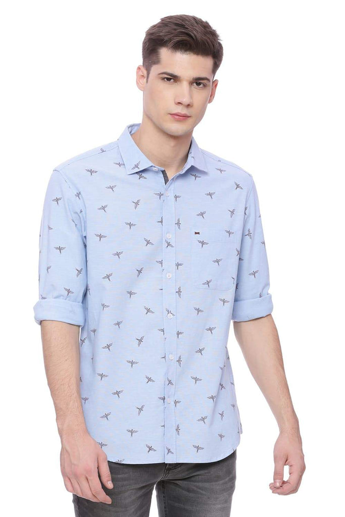 Basics Slim Fit Faded Denim Blue Printed Shirt Front