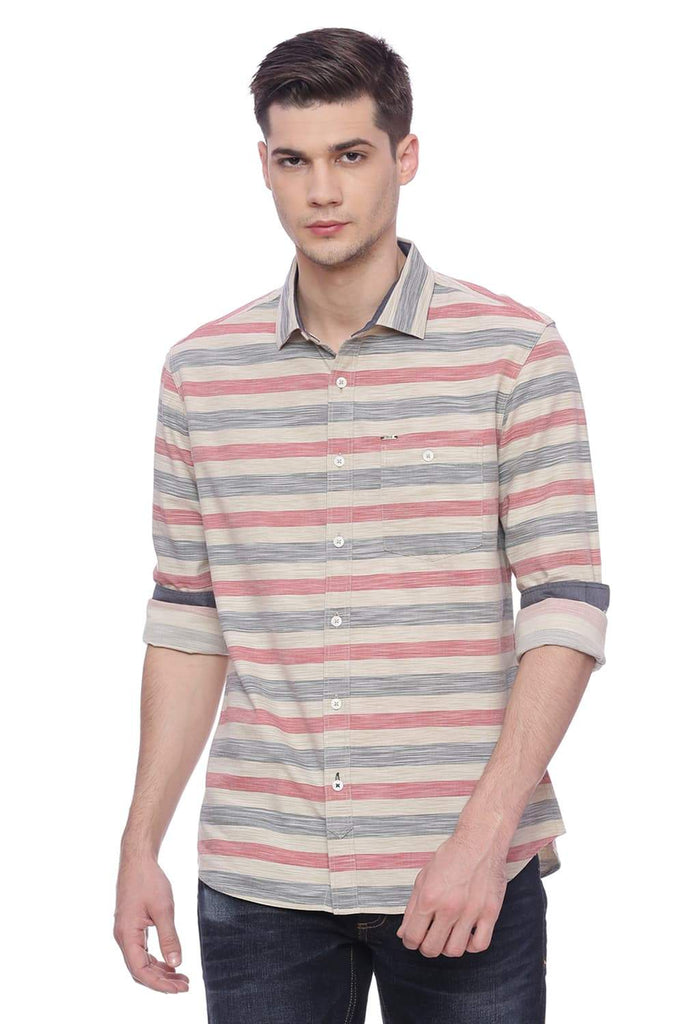 Basics Slim Fit Faded Red Stripes Shirt Front