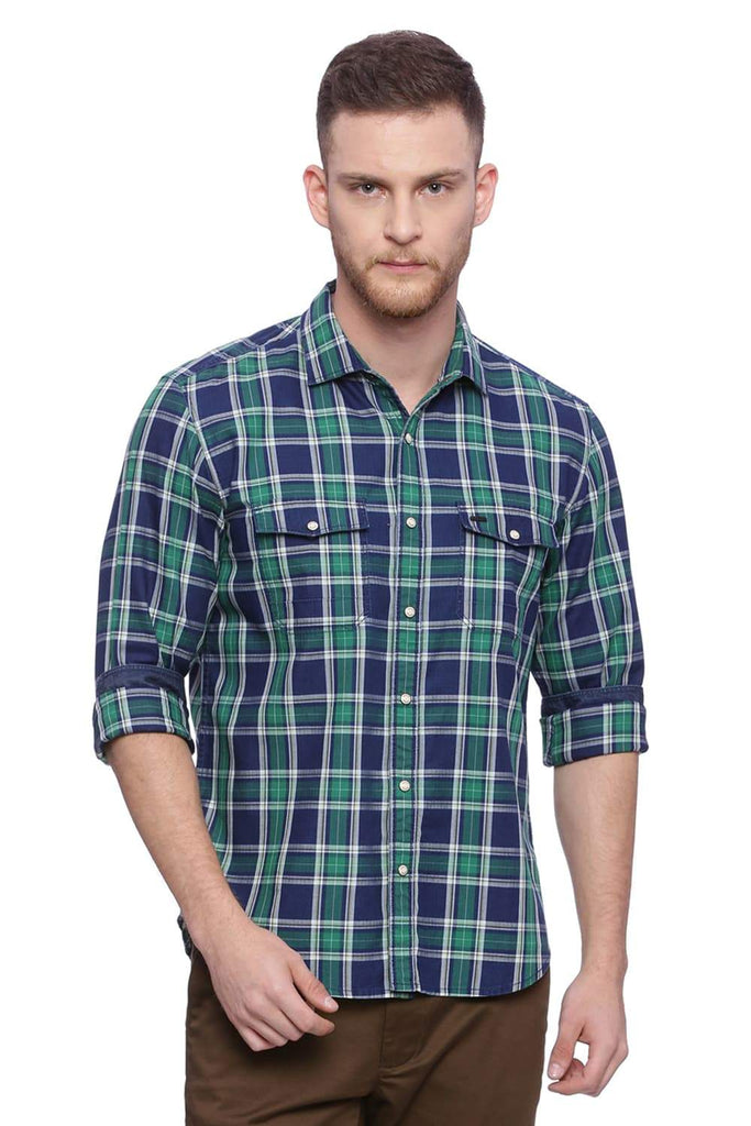 BASICS SLIM FIT FERN GREEN CHECKS SHIRT-18BSH37346 (4491049795665)