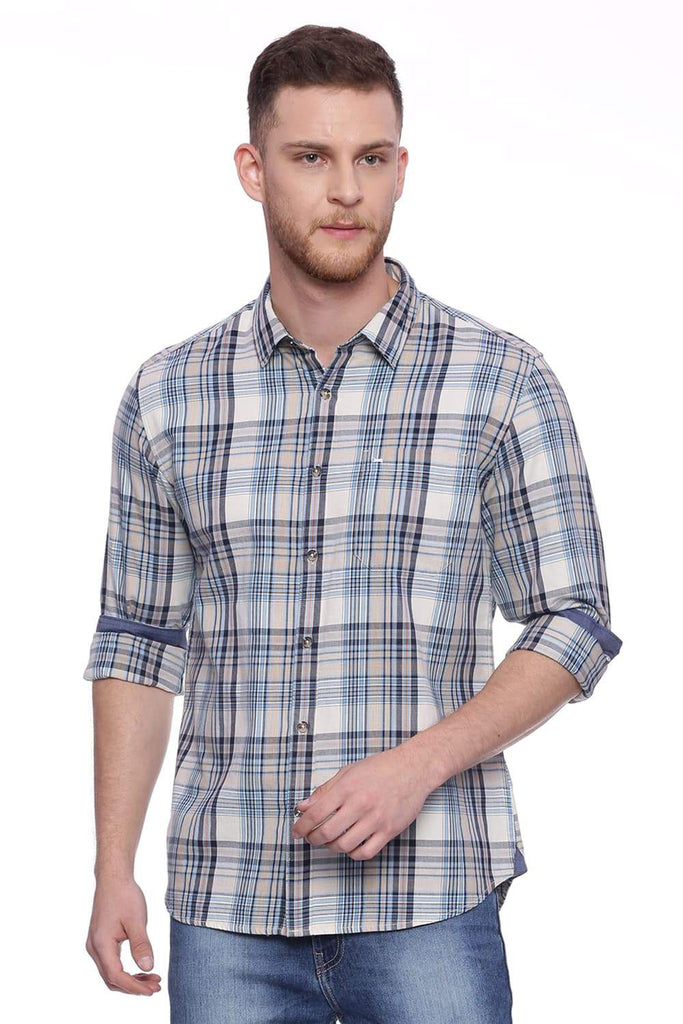 Basics Slim Fit Fog Brown Checks Shirt Front