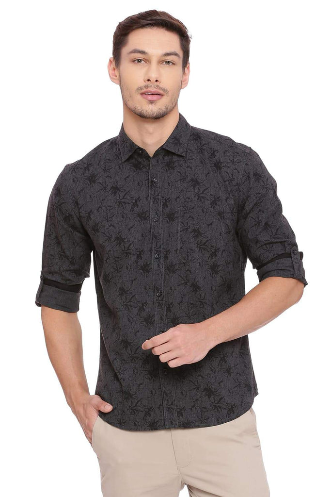 BASICS SLIM FIT FOREST GREEN PRINTED SHIRT-18BSH39270 (4491178213457)