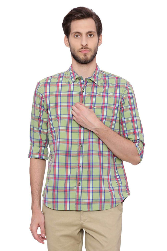 Basics Slim Fit Forest Shade Checks Shirt Front
