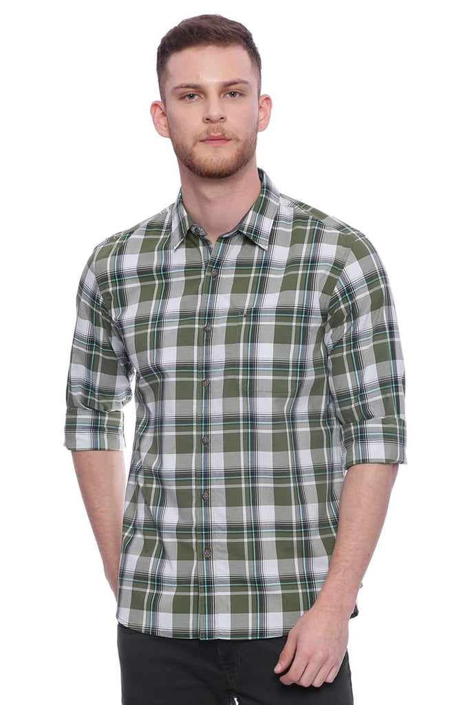 BASICS SLIM FIT GARDEN GREEN CHECKS SHIRT-18BSH37259 (4491062050897)