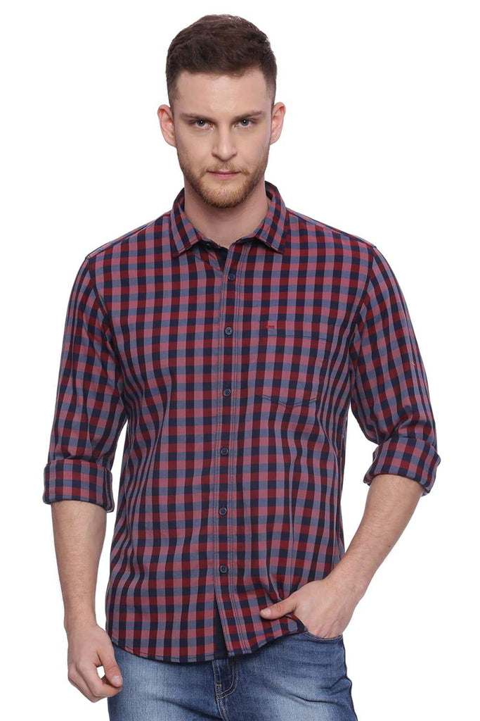 BASICS SLIM FIT GARNET RED CHECKS SHIRT-18BSH37588 (4490997727313)
