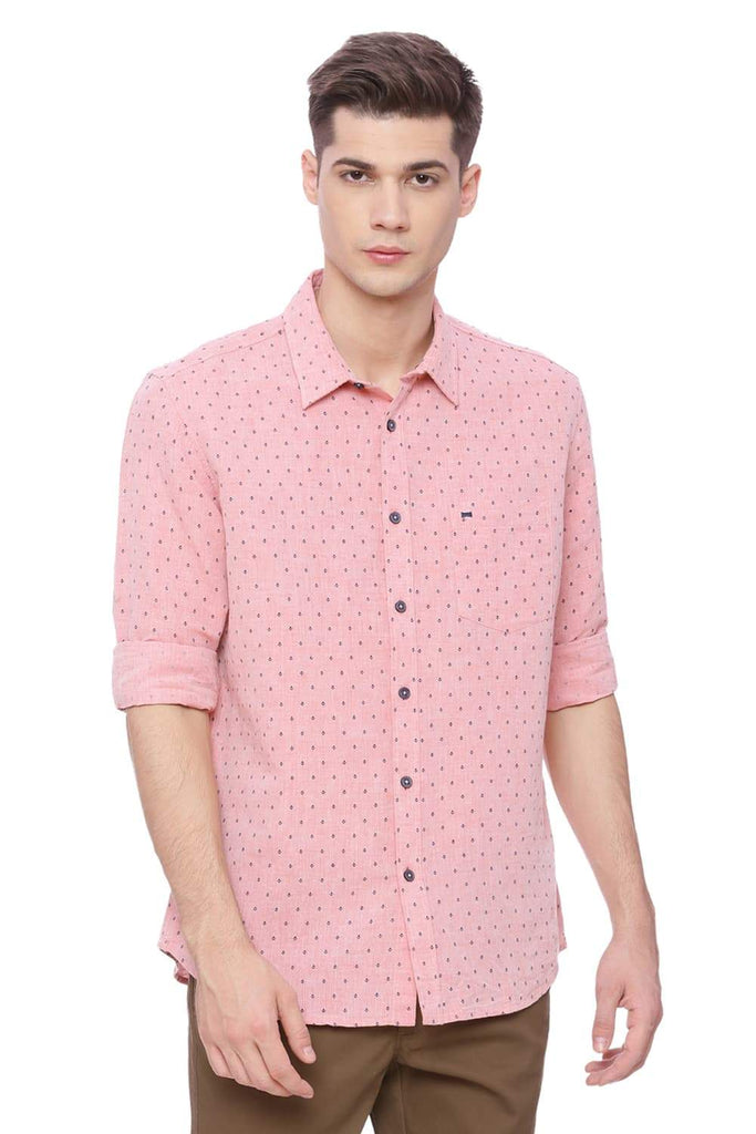 BASICS SLIM FIT GEORGIA PEACH PRINTED SHIRT-18BSH37153 (4491030200401)