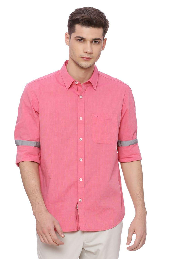 BASICS SLIM FIT GERANIUM RED FIL A FIL SHIRT-18BSH37300 (4491035672657)