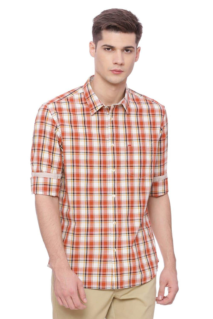 BASICS SLIM FIT GINGER ORANGE CHECKS SHIRT-18BSH37434 (4491072864337)