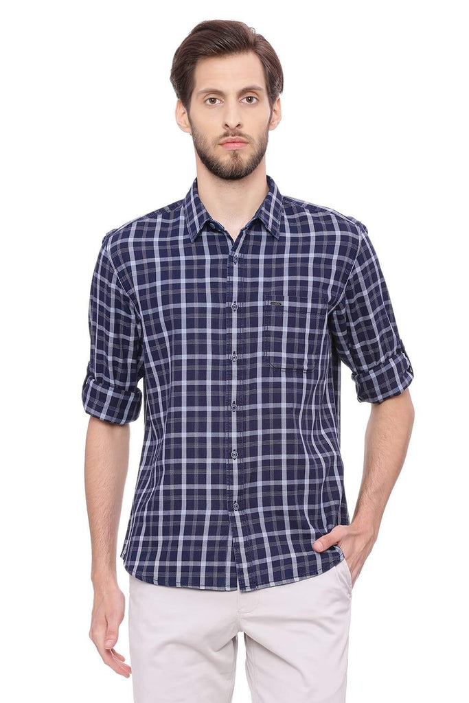 BASICS SLIM FIT GLACIER GREY CHECKS SHIRT-18BSH38596 (4491249057873)