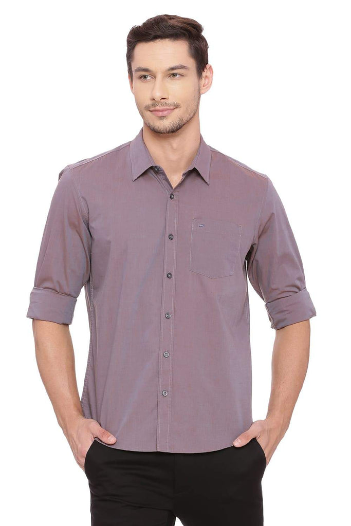 BASICS SLIM FIT GLAZED BROWN CHAMBRAY SHIRT-18BSH39002