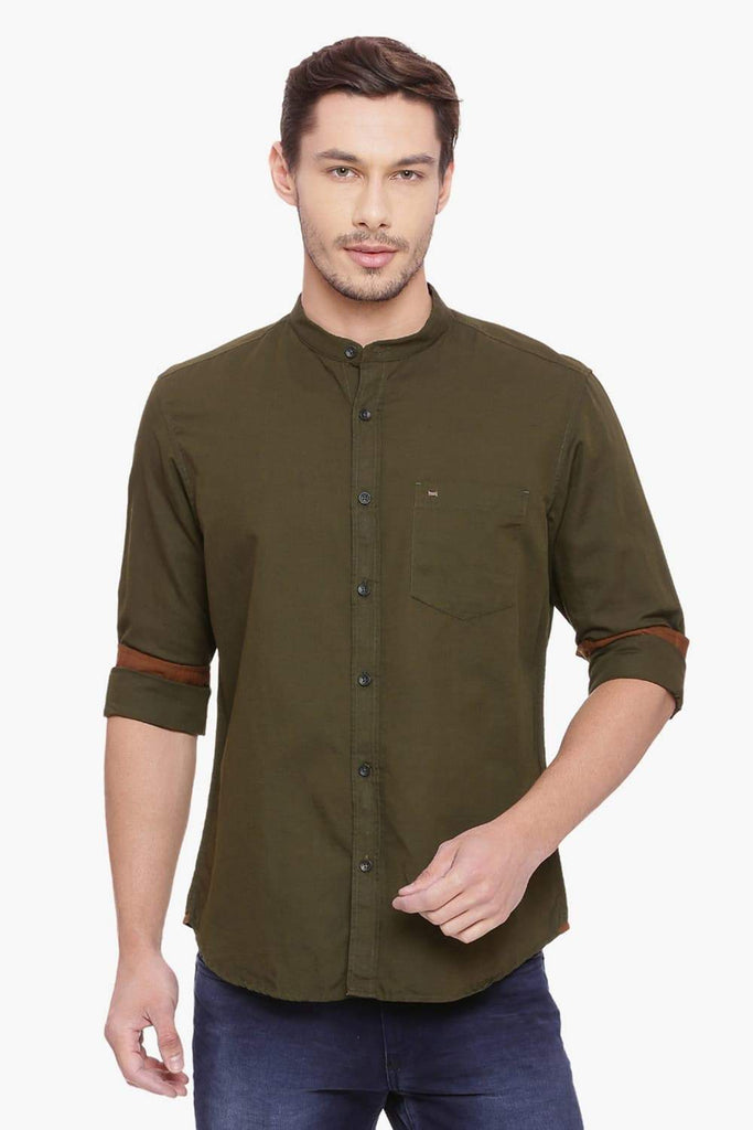 BASICS SLIM FIT GRAPE LEAF COTTON LINEN SHIRT-18BSH38470 (4491124080721)