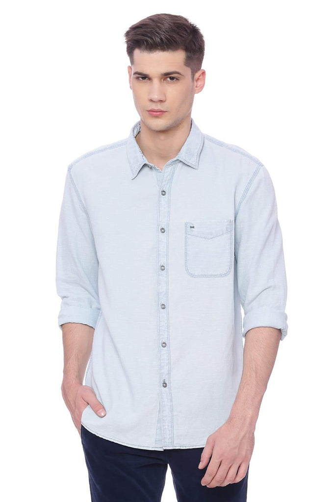 Basics Slim Fit Grisaille Blue Denim Shirt Front