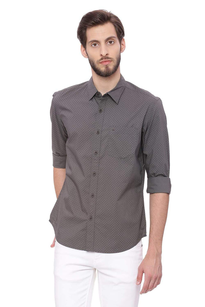 Basics Slim Fit Gunmetal Grey Printed Shirt Front