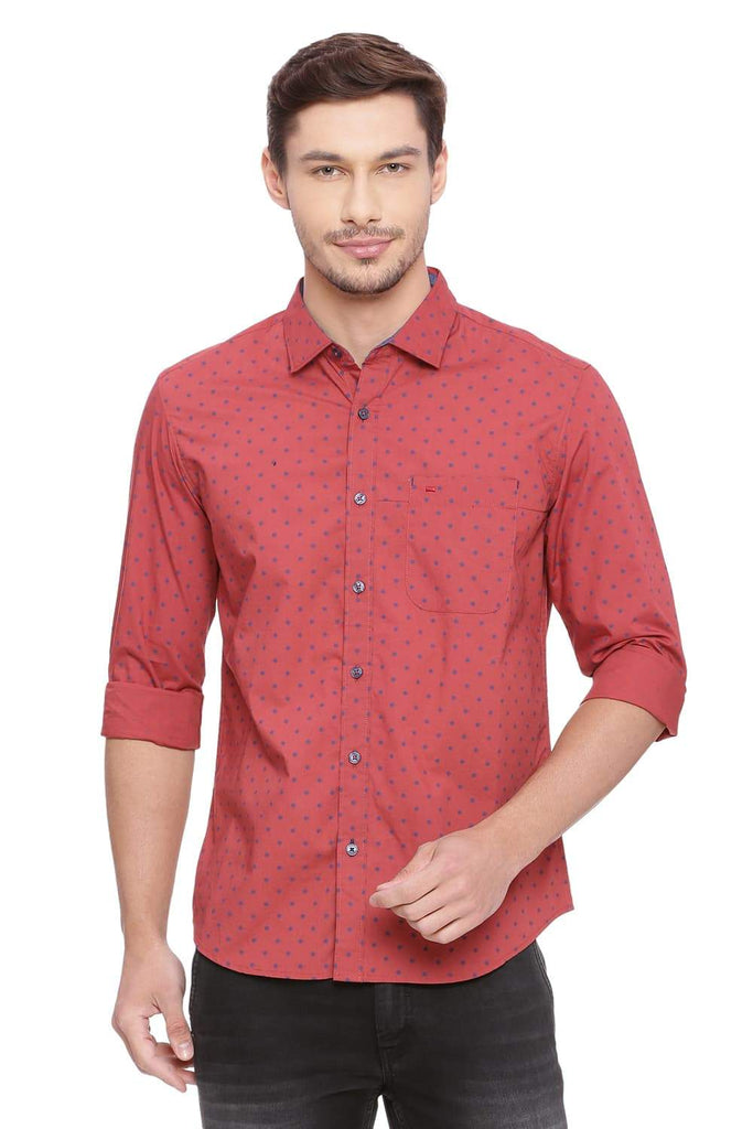 BASICS SLIM FIT HENNA RED PRINTED SHIRT-18BSH39236 (4491145871441)