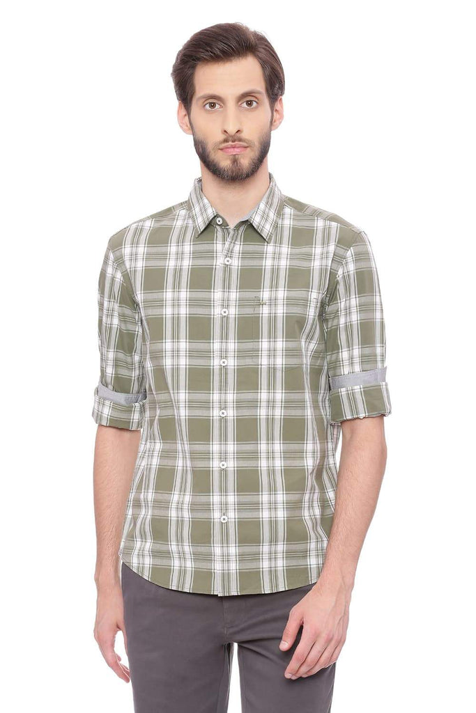 BASICS SLIM FIT HERB GREEN CHECKS SHIRT-18BSH38892 (4491459919953)