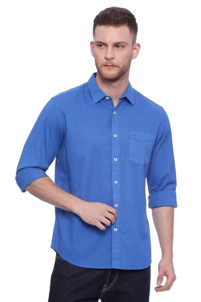 Basics Slim Fit Imperial Blue Shirt Front