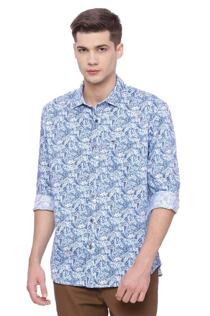 Basics Slim Fit Imperial Blue Printed Shirt Front