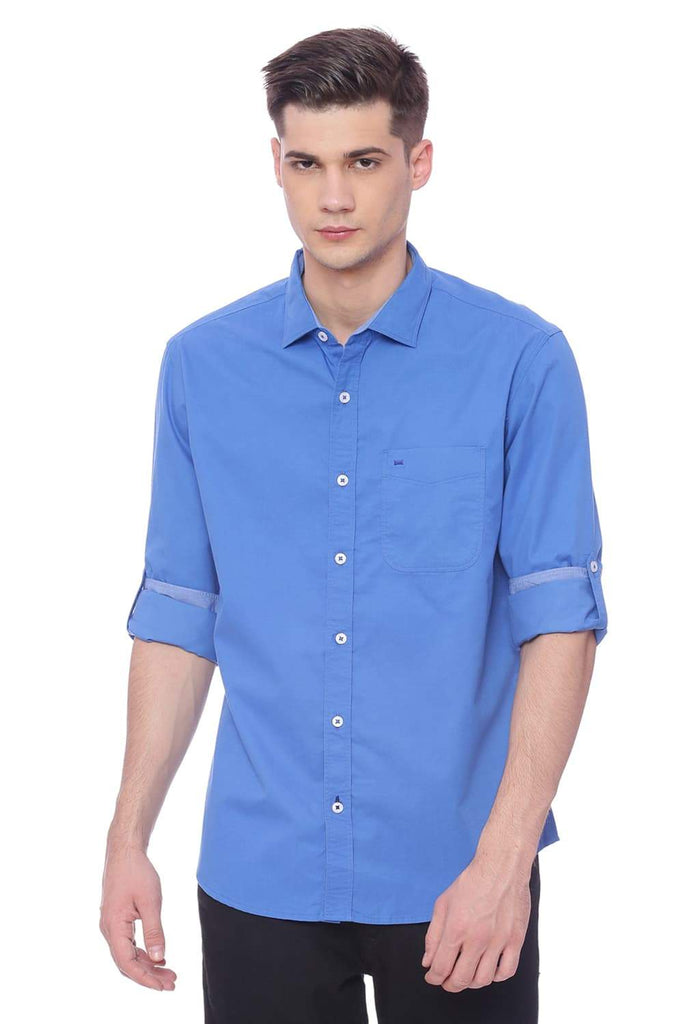 BASICS SLIM FIT IMPERIAL BLUE TWILL SHIRT-18BSH37490