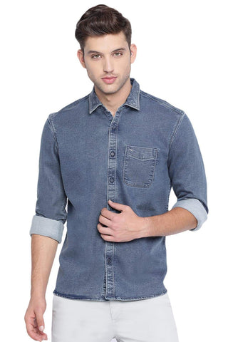 BASICS SLIM FIT INSIGNIA NAVY INDIGO SHIRT-19BSH40725 (4491570937937)