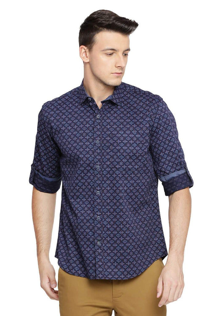 BASICS SLIM FIT IRIS NAVY PRINTED SHIRT-18BSH39251 (4491544756305)