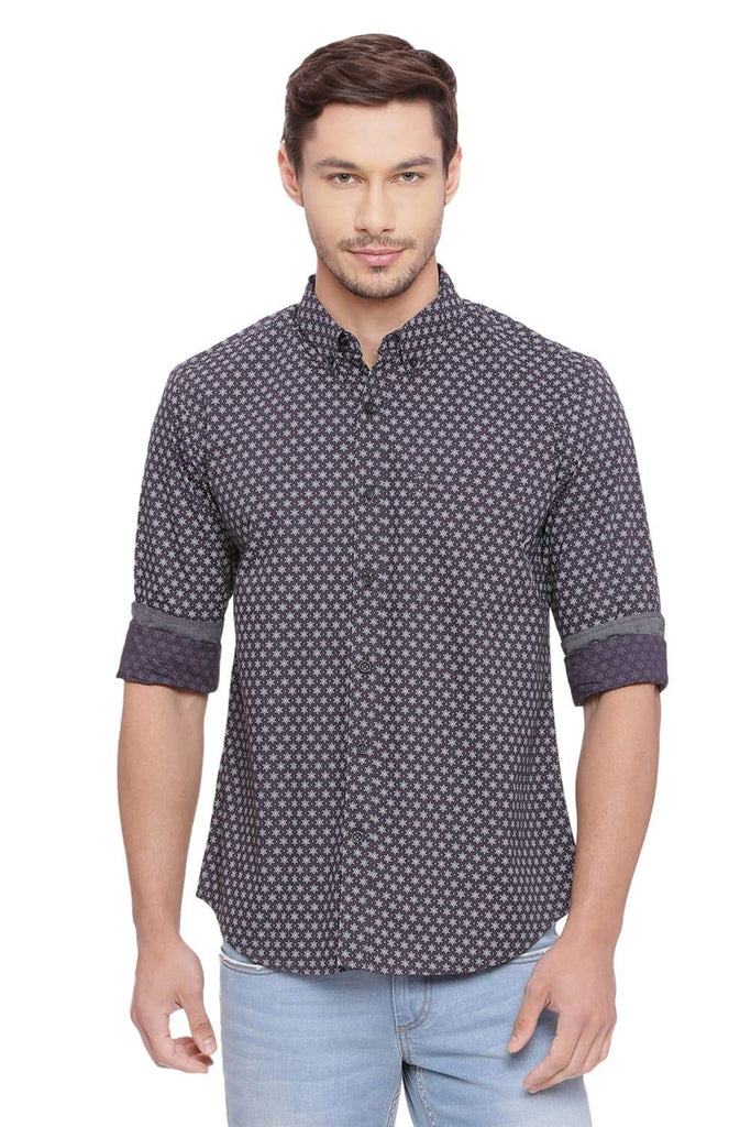 BASICS SLIM FIT IRON GREY PRINTED SHIRT-18BSH39229 - BasicsLife