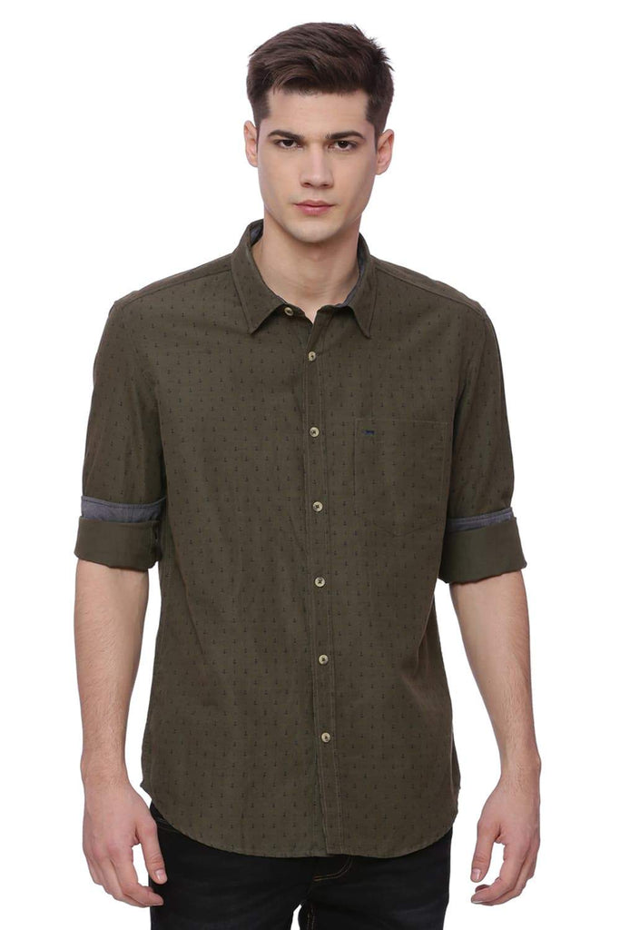 BASICS SLIM FIT IVY GREEN PRINTED SHIRT-18BSH37169 (4491031740497)