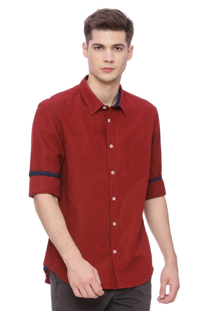 BASICS SLIM FIT JESTER RED COTTON LINEN SHIRT-18BSH37156 (4491092852817)