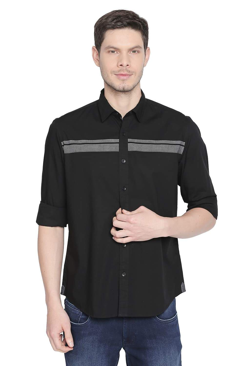 BASICS SLIM FIT JET BLACK STRETCH SHIRT-19BSH42302