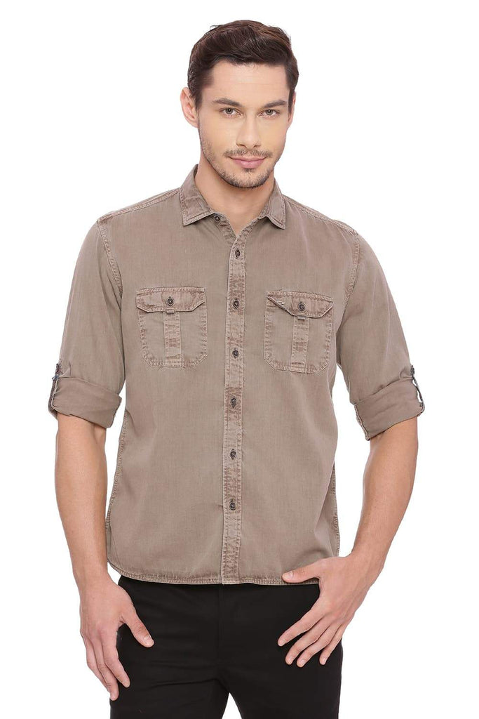 BASICS SLIM FIT KANGAROO BROWN GARMENT DYED TWILL SHIRT-18BSH39133 (4491517689937)