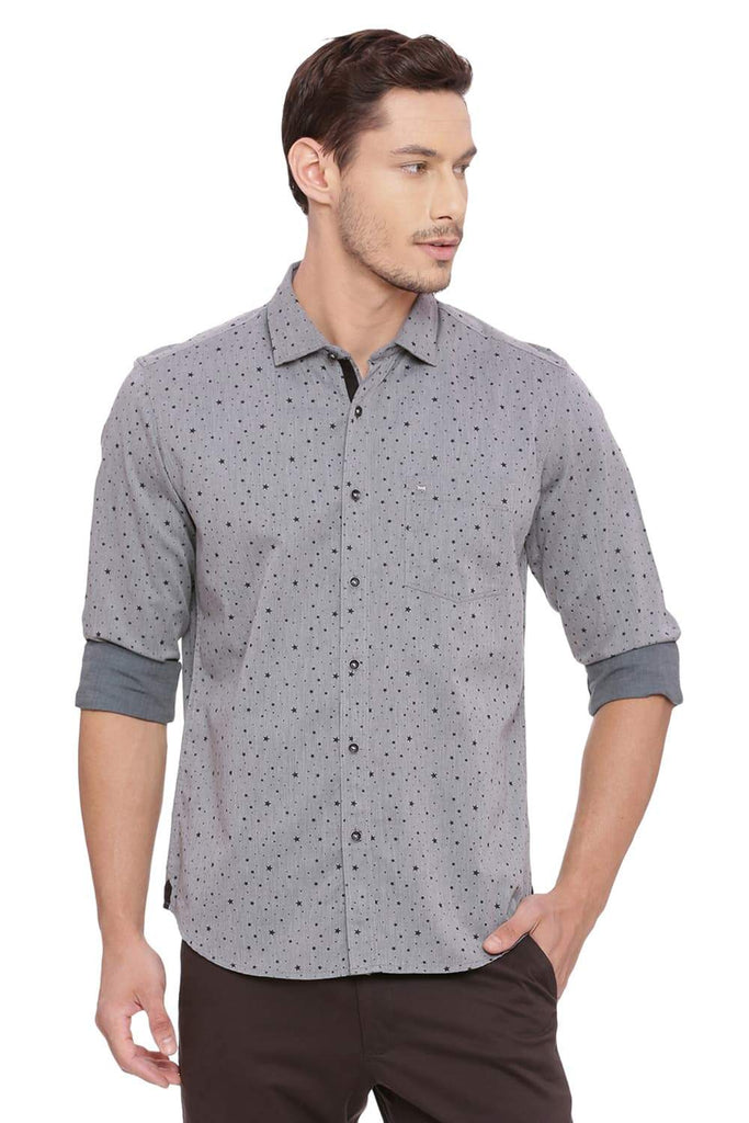 BASICS SLIM FIT LAUREL GREEN PRINTED SHIRT-18BSH39259 (4491550130257)