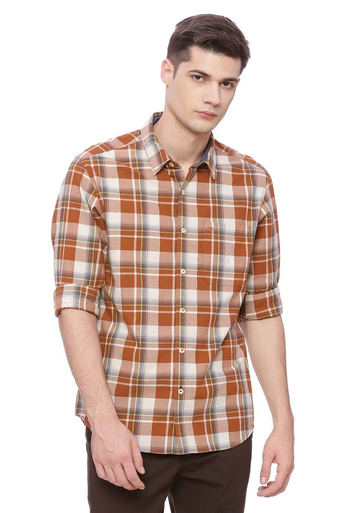Basics Slim Fit Leather Brown Checks Shirt Front