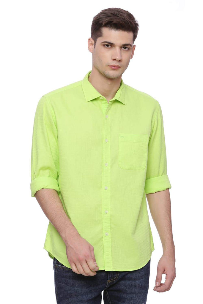 Basics Slim Fit Lime Green Shirt Front