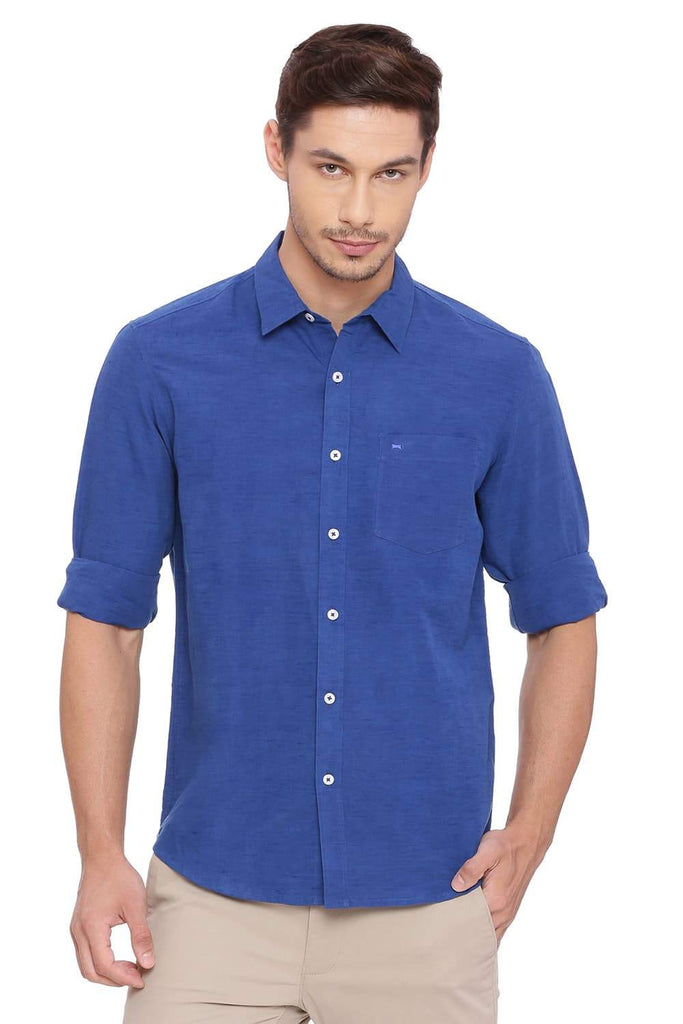 BASICS SLIM FIT LIMOGES BLUE COTTON LINEN SHIRT-18BSH38575
