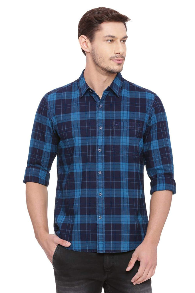 BASICS SLIM FIT LYONS AQUA CHECKS SHIRT-18BSH38590