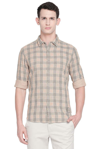 BASICS SLIM FIT MACAROON BEIGE REVERSIBLE SHIRT-19BSH41716 (4491862933585)