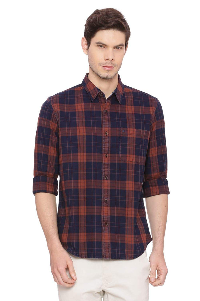 BASICS SLIM FIT MADDER BROWN CHECKS SHIRT-18BSH38589