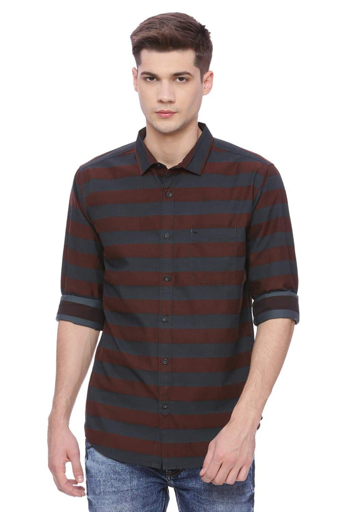 Basics Slim Fit Madder Brown Stripes Shirt Front