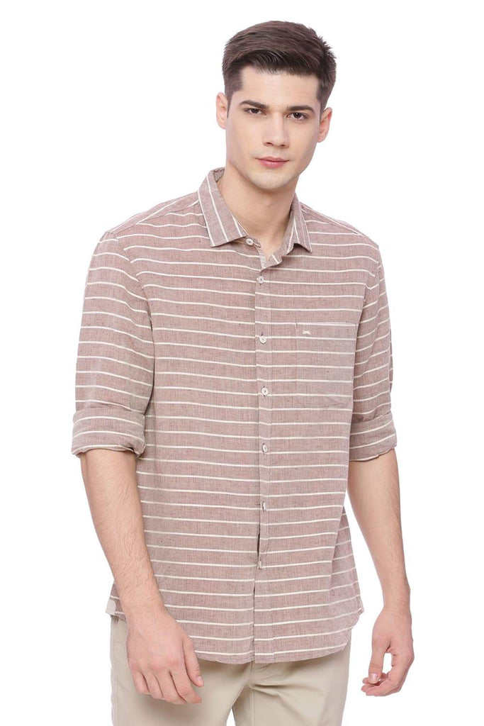 BASICS SLIM FIT MADDER KAHAKI WEFT STRIPES SHIRT-18BSH37178 (4491047370833)