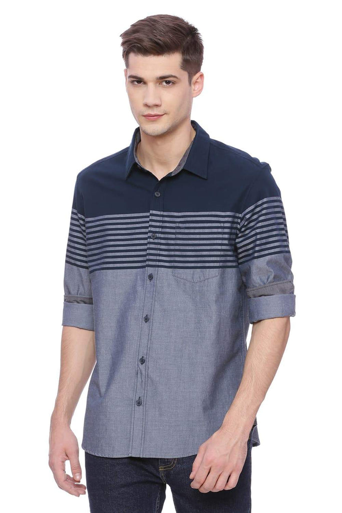BASICS SLIM FIT MAJOLICA BLUE ENGINEERED STRIPE SHIRT-18BSH37638 (4490999201873)