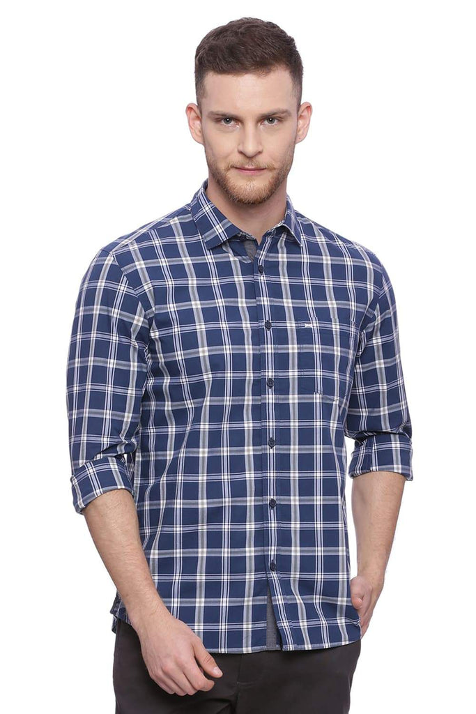 Basics Slim Fit Majolica Navy Checks Shirt Front