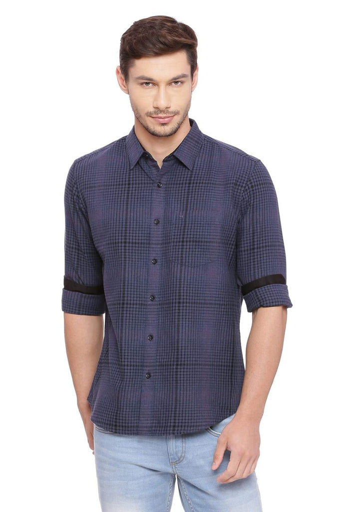 BASICS SLIM FIT MAJOLICA NAVY CHECKS SHIRT-18BSH38819 (4491402182737)