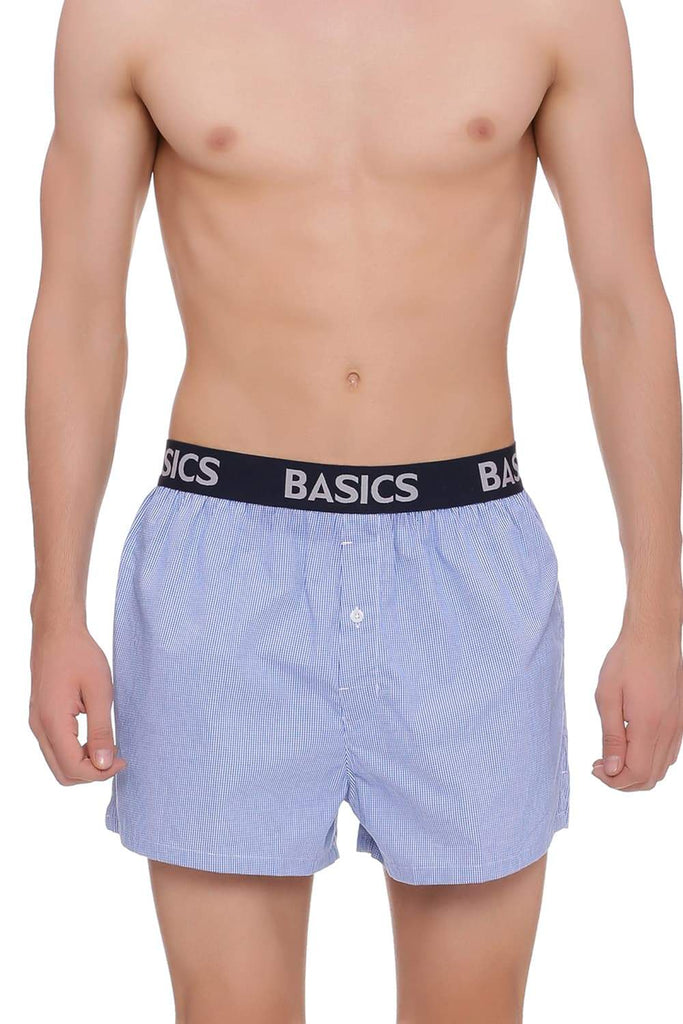 BASICS SLIM FIT MARINA BLUE CHECKS BOXER SHORTS-18BBX38554 (4491118444625)