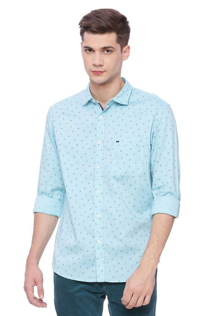 Basics Slim Fit Marine Blue Printed Shirt Front