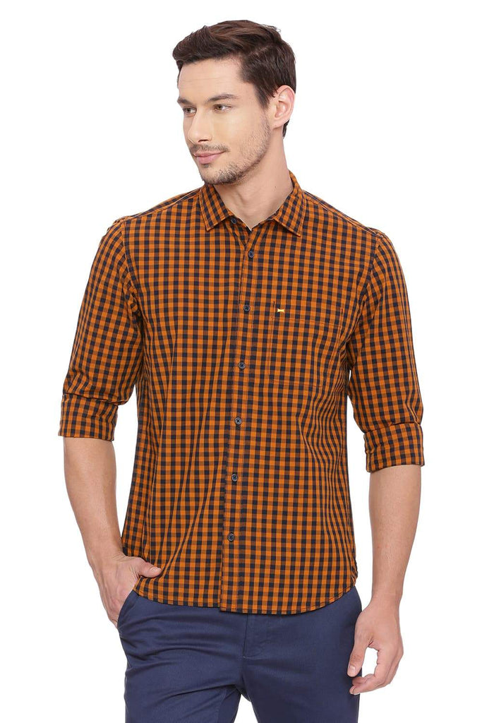 BASICS SLIM FIT MARMALADE ORANGE CHECKS SHIRT-18BSH38752 - BasicsLife