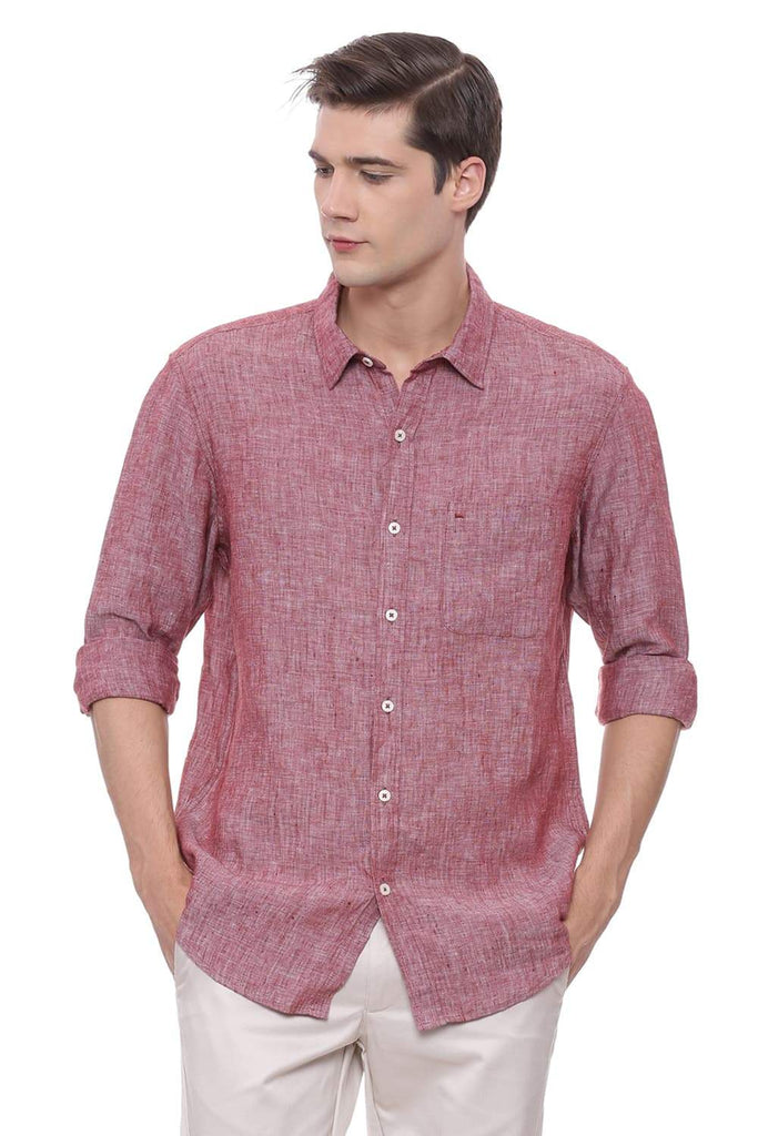 BASICS SLIM FIT MAROON LINEN SHIRT-18BCSH39308 (4491122245713)