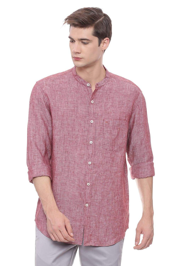 BASICS SLIM FIT MAROON LINEN SHIRT-18BCSH39312 (4491115397201)