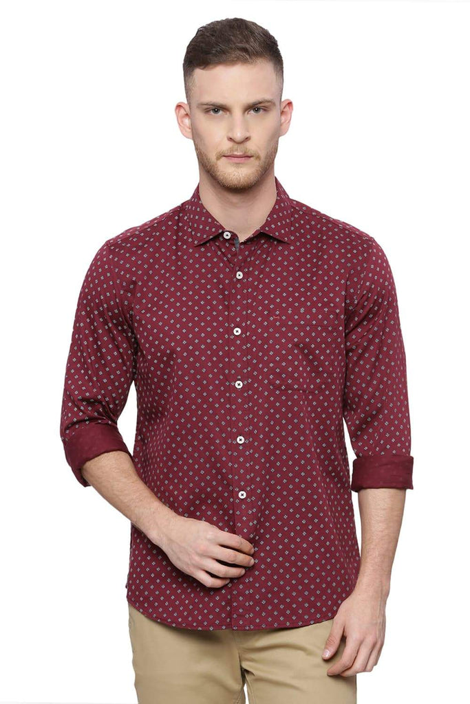 Basics Slim Fit Maroon Wine Printed Shirt Front