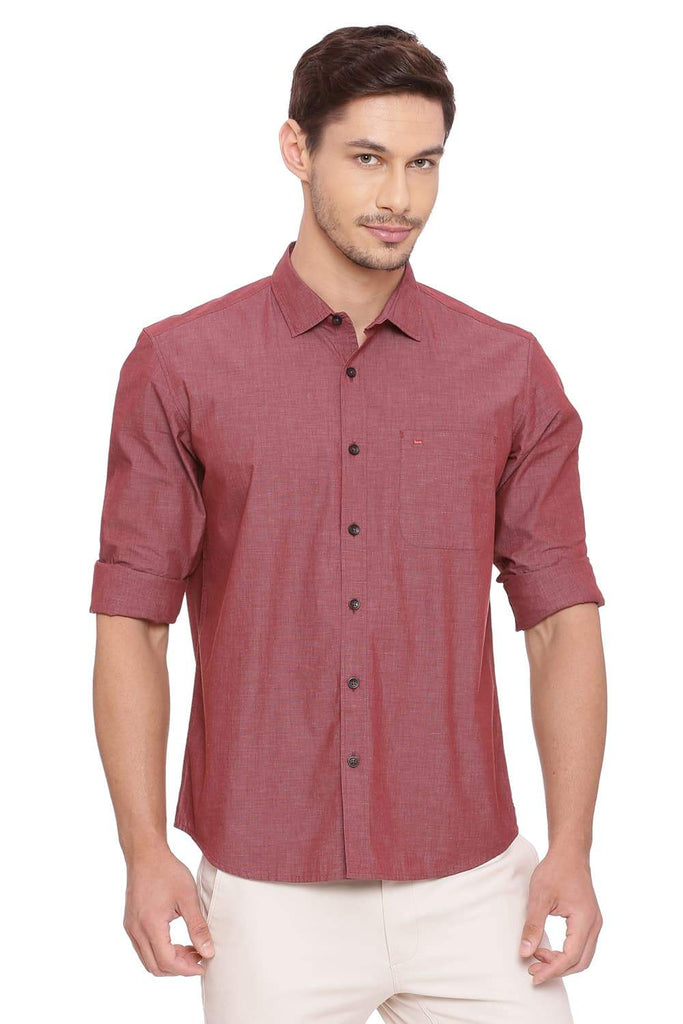 BASICS SLIM FIT MARSALA RED FILA FIL SHIRT-18BSH38851 (4491434328145)