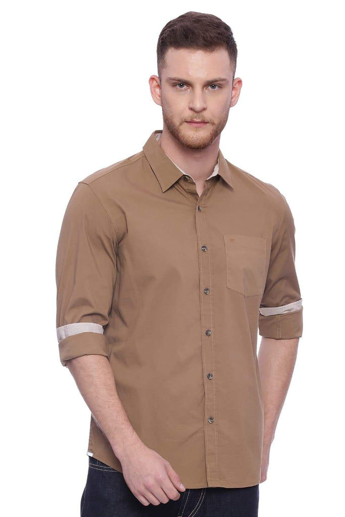 Basics Slim Fit Marzipan Khaki Shirt Front