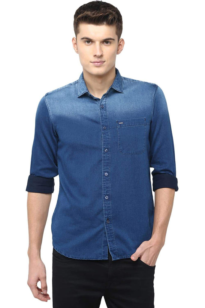 BASICS SLIM FIT MEDIEVAL INDIGO SATIN SHIRT-18BSH39026 (4491554750545)