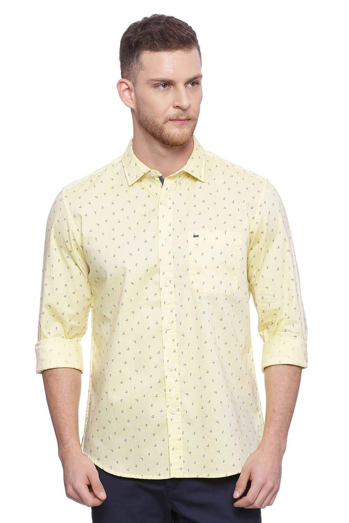 Basics Slim Fit Mellow Yellow Printed Shirt Front
